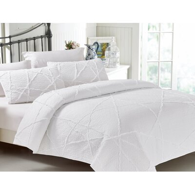 Crazy 3 Piece Quilt Set Color: White, Size: King