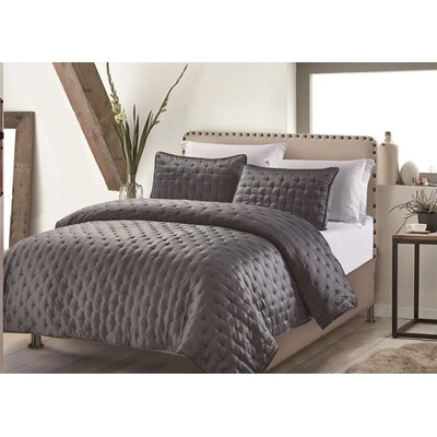 Hotel Masterpiece 3 Piece Coverlet Set Size: King, Color: Charcoal