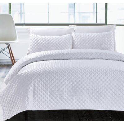 3 Piece Coverlet Set Size: Full/Queen, Color: White