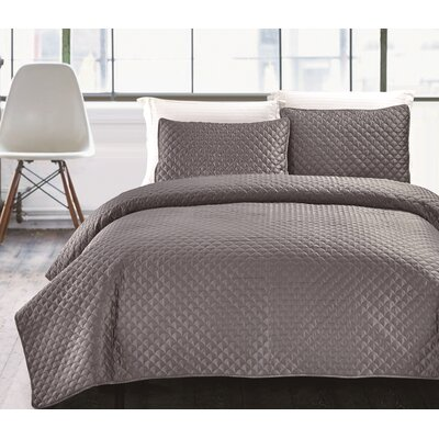 Hotel Jewel 3 Piece Coverlet Set Size: King, Color: Charcoal