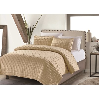 Hotel Masterpiece 3 Piece Coverlet Set Size: King, Color: Gold