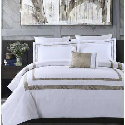 Hotel Park Luxe 4 Piece Comforter Set Size: King, Color: White/Taupe