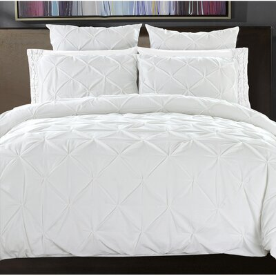 Pintuck Handcrafted 3 Piece Duvet Cover Set Size: Full/Queen, Color: Bright White