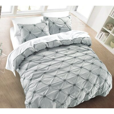 Diamond Pintuck 3 Piece Duvet Cover Set Size: Full/Queen, Color: Silver