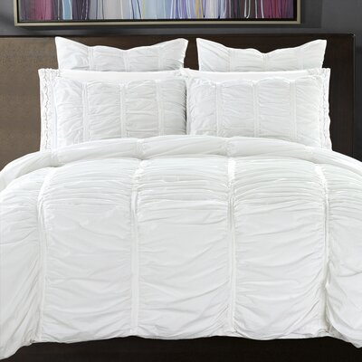 3 Piece Reversible Duvet Cover Set Size: King, Color: Bright White