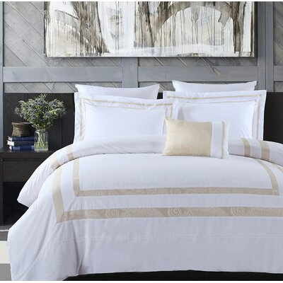 Hotel Park Luxe 4 Piece Comforter Set Size: Full/Queen, Color: White/Champagne