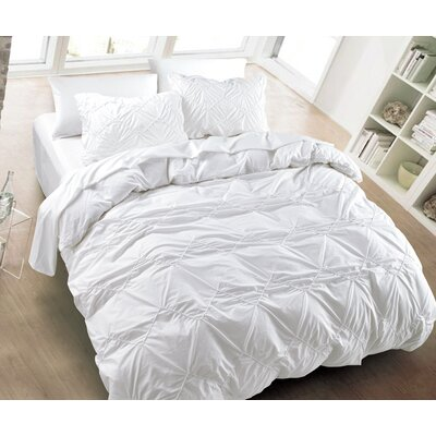 Messy Herringbone 3 Piece Duvet Cover Set Size: King, Color: White