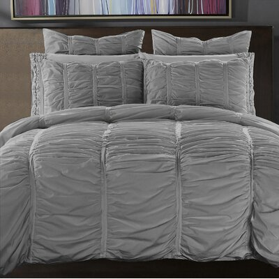 3 Piece Reversible Duvet Cover Set Size: Full/Queen, Color: Silver