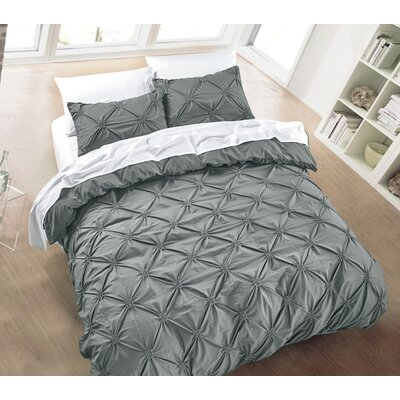 Diamond Pintuck 3 Piece Duvet Cover Set Size: Full/Queen, Color: Charcoal