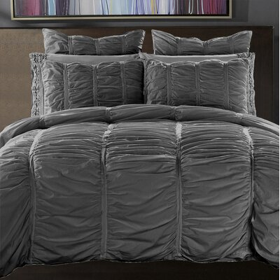 3 Piece Reversible Duvet Cover Set Size: King, Color: Charcoal Gray