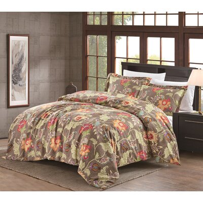 Hopeless Romantique Jacobean 3 Piece Duvet Cover Set Size: Full/Queen, Color: Weathered  Flax