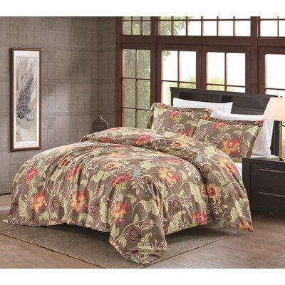 Hopeless Romantique Jacobean 3 Piece Duvet Cover Set Color: Weathered  Flax, Size: King
