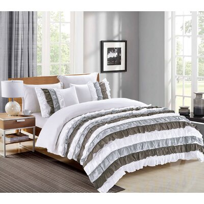 Cascade 3 Piece Duvet Cover Set Size: Full/Queen