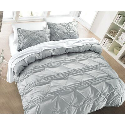 Messy Herringbone 3 Piece Duvet Cover Set Color: Silver, Size: Full/Queen