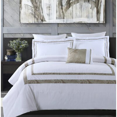 Hotel Park Luxe 3 Piece Duvet Cover Set Size: King, Color: White/Taupe