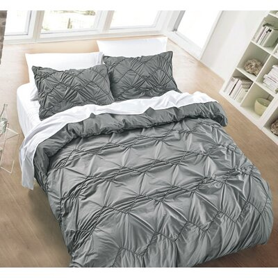 Messy Herringbone 3 Piece Duvet Cover Set Size: Full/Queen, Color: Charcoal