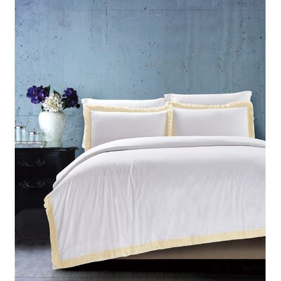 Fringe White 3 Piece Duvet Cover Set Size: King