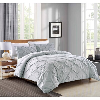 Pintuck Handcrafted 3 Piece Duvet Cover Set Size: King, Color: Silver