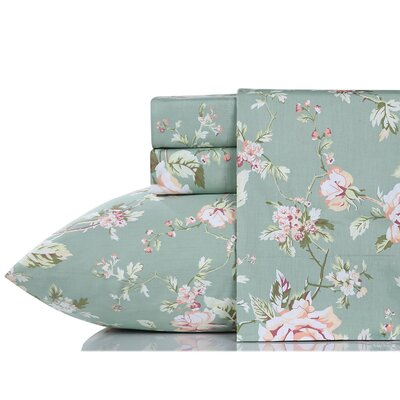 Briaca English Rose 200 Thread Count 100% Cotton Sheet Set Size: Full/Double