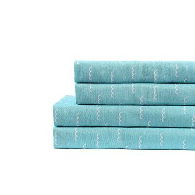 Mckenzie Waves 200 Thread Count 100% Cotton 4 Piece Sheet Set