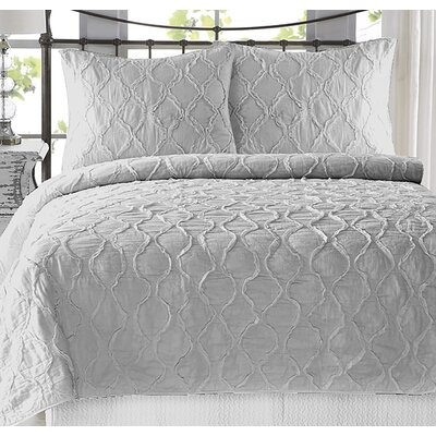 Adelmo Wavy S Ruffled 100% Cotton 3 Piece Quilt Set Size: Twin/Twin XL, Color: Light Gray