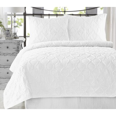Adelmo Wavy S Ruffled 100% Cotton 3 Piece Quilt Set Size: Twin/Twin XL, Color: Bright White