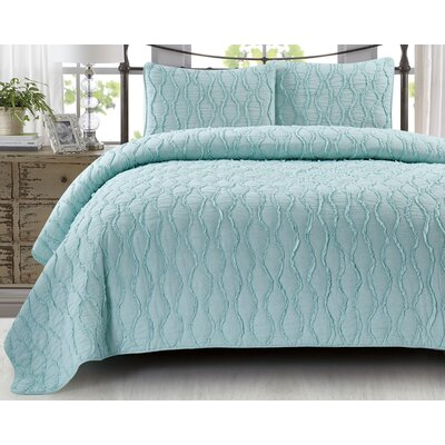 Adelmo Wavy S Ruffled 100% Cotton 3 Piece Quilt Set Size: King, Color: Spa Blue