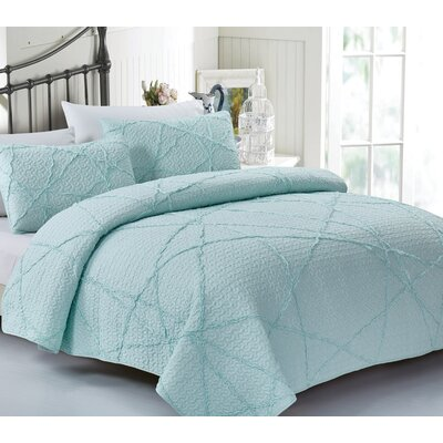 Malta Crazy Ruffled 100% Cotton 3 Piece Quilt Set Size: King
