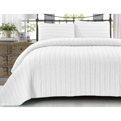 Adalberto Handcrafted Vertical Ruffled 100% Cotton 3 Piece Quilt Set Size: Twin/Twin XL, Color: Bright White