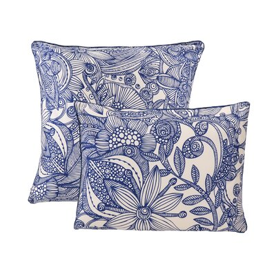 Flowers and Doodle Microfiber Decorative Throw Pillow