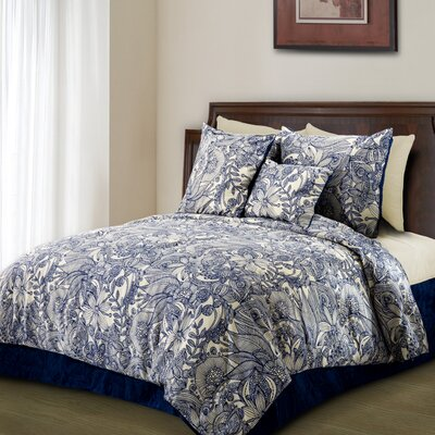 Flowers and Doodles Microfiber Duvet Cover Set Size: King