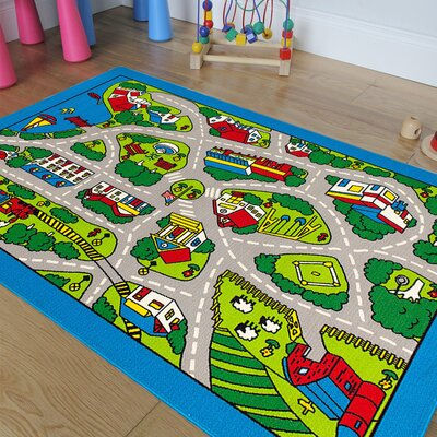 Street Map Green/Blue Area Rug Rug Size: 73 x 102