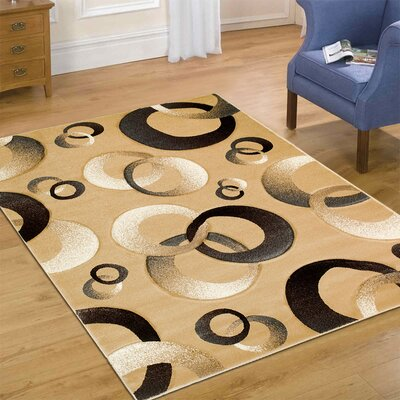Circles Champagne Area Rug Rug Size: 52 x 72