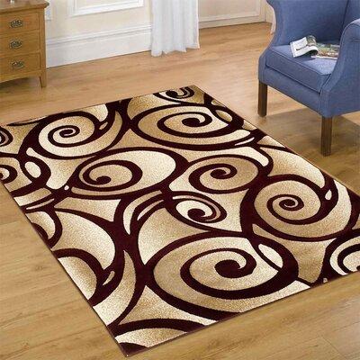 Evolution Swirl Brown Area Rug Rug Size: 79 x 105