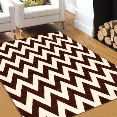 Chocolate/Beige Area Rug Rug Size: 79 x 105