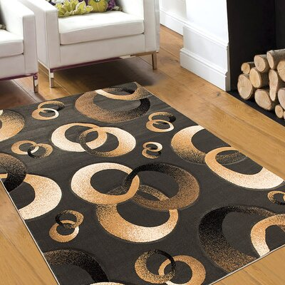 Circles Charcoal Area Rug Rug Size: 52 x 72
