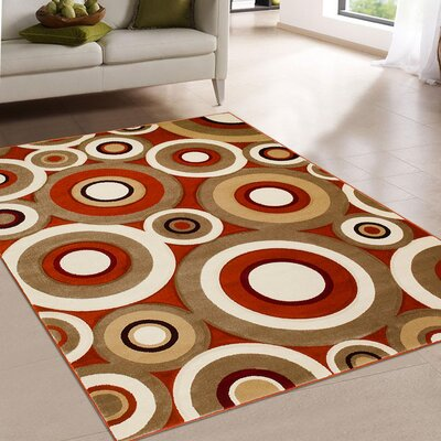 Rust/Brown Area Rug Rug Size: 52 x 72