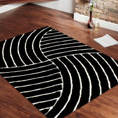 Hand-Tufted Black Area Rug Rug Size: 5 x 7