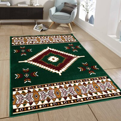 Green Area Rug Rug Size: 77 x 106