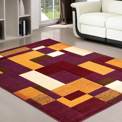 Purple/Orange Area Rug Rug Size: 39 x 51