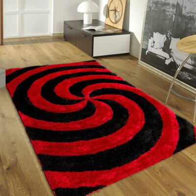 Hand-Tufted Red Area Rug Rug Size: 76 x 105