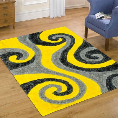 Hand-Tufted Yellow Area Rug Rug Size: 76 x 105