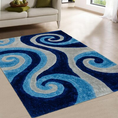 Hand-Tufted Blue Area Rug Rug Size: 76 x 105