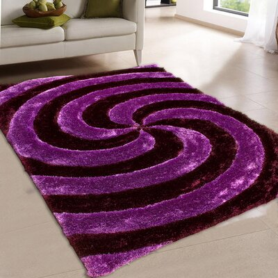 Hand-Tufted Purple Area Rug Rug Size: 5 x 7