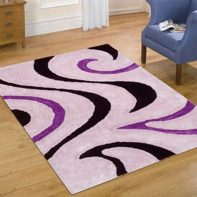 Hand-Tufted Purple Area Rug Rug Size: 76 x 105