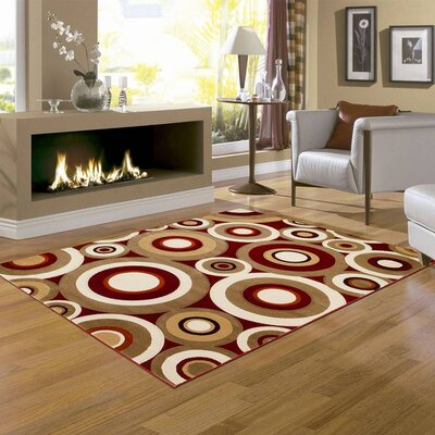 All Saints Red Area Rug Rug Size: Round 77