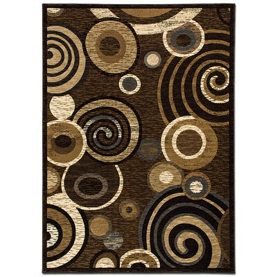 Circles Chocolate Area Rug Rug Size: 79 x 105