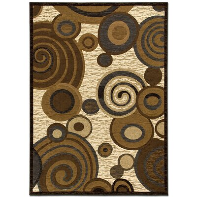 Circles Brown/Beige Area Rug Rug Size: 79 x 105
