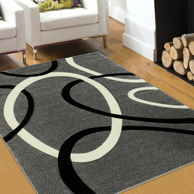 Circle Gray Area Rug Rug Size: 39 x 51