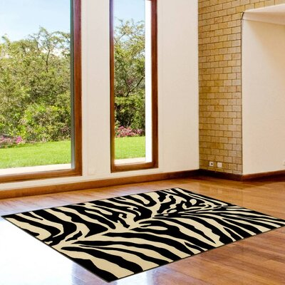 Zebra Black/Beige Area Rug Rug Size: 39 x 51